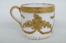 Spode Copeland Plummer NY White Gold Demitasse Espresso Cup and Saucer 1915B
