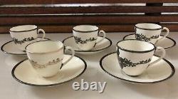 Sterling Overlay Porcelain Demitasse Mauser Lenox Belleek Antique Cup Saucer