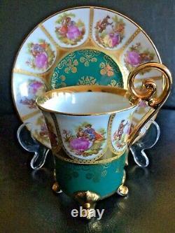 Stunning Vintage Limoges La Reine Demitasse Cup & Saucer Fragonard 22 Karat Gold
