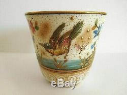 Superb Antique Ernst Wahliss Bird Demitasse Cup And Saucer On Pirkenhammer Blank