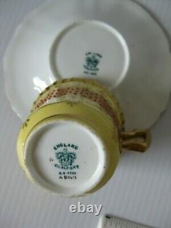 Superb Rare Vintage Jewelled Demitasse Coalport England Cup And Saucer