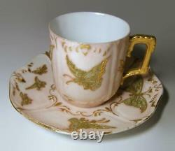 T&V Limoges Butterfly Pink Demitasse Cup & Saucer w Heavy Gilding & Beading