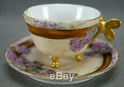 T&V Limoges Hand Painted Violets & Gold Dragonfly Handle Demitasse Cup & Saucer