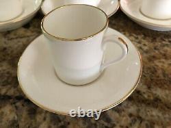 TIFFANY & CO Set of 7 Gold Rim White Bone China DEMITASSE/ESPRESSO CUPS/SAUCERS