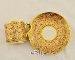 Taisho Japanese Satsuma thousand butterfly demitasse cup & saucer by Koshida