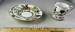 Ten Coalport China Hunting Scene Demitasse Cup & Saucer Sets Horses, Dogs