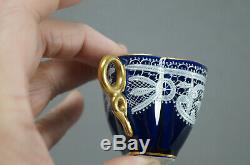 Testolini Venezia Merletto White Lace Cobalt Demitasse Cup & Saucer C 1900-1920s