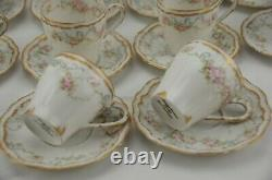 Theodore Haviland Schleiger 340 Double Gold Rose Set 10 Demitasse Cups Saucers
