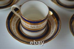 Tiffany & Co Cauldon Cobalt Gold Encrusted Demitasse Cups With Saucers Set Of 8