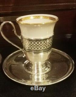Tiffany & Co. Sterling Silver Demitasse Cups & Saucers