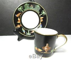 Tiffany Private Stock, Le Tallec, BLACK SHOULDER Demitasse Cup & Saucer(s)