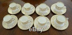 Twelve (12) Wedgwood Gold Florentine Porcelain Demitasse Cups & Saucers