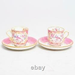 Two (2) Minton's England Pink Cockatrice Demitasse Cups & Saucers, Globe Stamp