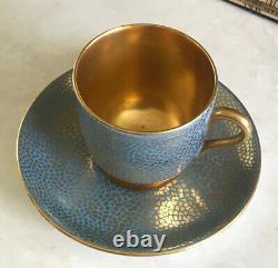 Unique Coalport Demitasse Cup Hand Painted Gold Turquoise Mosaic Shreve & Co