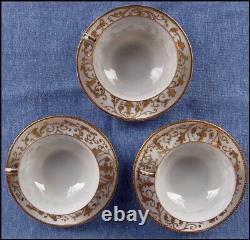 Unmarked Mintons 6 piece Demitasse Tea Set Eggshell Porcelain Gold Encrusted
