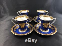 VERSACE ROSENTHAL Blue Medusa Demitasse/Espresso Cup and Saucer GORGEOUS COLORS