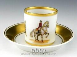 VTG Augarten Wien Vienna HANDPAINTED DEMITASSE CUP SAUCER LIPIZZANER HORSE RIDER