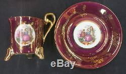 VTG Royal Antique Victorian Footed Tea Cup Saucer 10pc Set Lusterware Demitasse