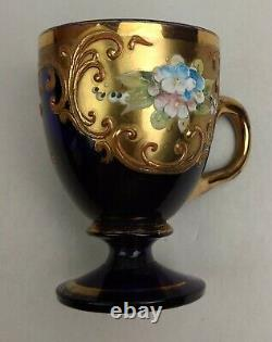 Venetian Glass Demitasse Cup Saucer Cobalt Blue with Gold Overlay Flowers c. 1950s