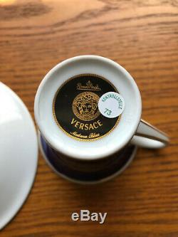 Versace Rosenthal Medusa Blue Coffee Demitasse Cup & Saucer Set NEW RARE NWOB