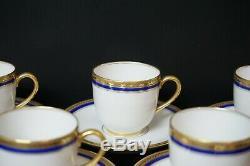 Vignaud Limoges The Seville Cobalt & Gold Trim Set of 6 Demitasse Cups & Saucers