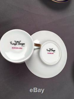 VintG Haviland Richelieu Pattern 6 Demitasse Cups Saucers Cobalt & Fleur De Lis