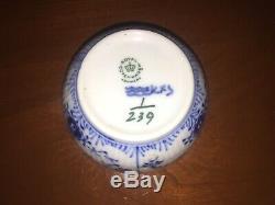 Vintage 6 Demitasse Cup/Saucer Cream Sugar Copenhagen Half Lace Blue Fluted