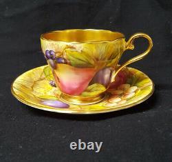 Vintage Aynsley Bone China Fruit Orchard Demitasse Cup + Saucer Lush Gold Signed