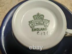 Vintage Aynsley Cobalt Blue Porcelain Demitasse Cup & Saucer