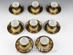 Vintage Aynsley England COBALT BLUE GOLD GILDED DEMITASSE CUPS & SAUCERS Set 8