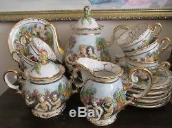 Vintage Capodimonte Italy Demitasse Coffee Set Pot Creamer Sugar 6 Cup & Saucer