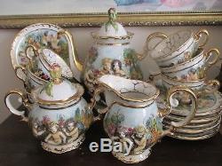 Vintage Capodimonte Italy Demitasse Coffee Set Pot Creamer Sugar 6 Cup & Saucer