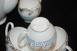 Vintage Chocolate Pot Set withSugar Bowl, Creamer, 6 Demitasse Cups & Saucers
