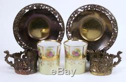 Vintage Demitasse Tea Cup Set of 6 Angel Filigree Metal Holder Figural Handle