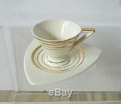 Vintage Espresso Demitasse Cups & Saucers Set of 10 Art Deco Style
