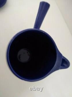 Vintage Fiestaware Cobalt Demitasse Pot with Seven Cups & Eight Saucers