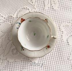 Vintage Herend Mocha Demitasse Cups & Saucers Boquet de Tulipe, Set Of Four