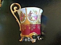 Vintage Limoges La Reine Fragonard 22 Kt Gold Demitasse Cup Saucer Plate Trio