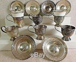 Vintage M. Fred Hirsch Co. 6 Demitasse Cup Holders6 Saucers2 Tuscan CupsRare