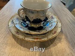 Vintage Meissen Blue Porcelain Floral Demitasse Cup & Saucer with Gold