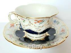 Vintage Meissen DEMITASSE Cup Saucer Floral Cobalt Blue & Gold Crossed Swords