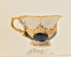 Vintage Meissen Porcelain Floral Demitasse Cup & Saucer White and Blue with Gold