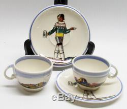 Vintage Pair of 2 x Vernon Kilns SALAMINA Rockwell Kent DEMITASSE CUPS & SAUCERS