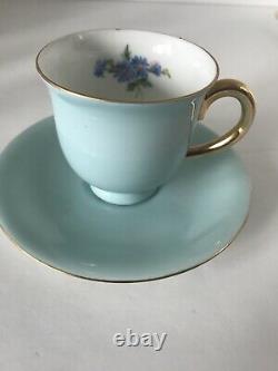 Vintage Puls Germany Demitasse Cups & Saucers Porcelain Assorted Colors Set of 4