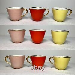 Vintage Richard Ginori Demitasse 6 Cup Saucer Sets / Solid Color with Gold Trim