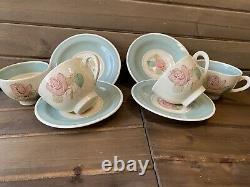 Vintage Susie Cooper Burslem Patricia Rose Demitasse Cups and Saucers 8 Pieces