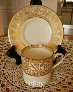 Vintage Wedgwood Gold Florentine Demitasse Set 8 Cups & 8 Saucers Htf