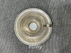 Vtg Antique Frank Whiting Sterling Silver Set of 3 Demitasse Cups & Saucers