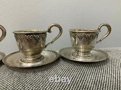 Vtg Antique International Silver Co. Sterling Set of 6 Demitasse Cups & Saucers