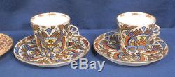Vtg Antique Royal Vienna Beehive Mark 8 Demitasse Cup and + Saucer Sets Chintz